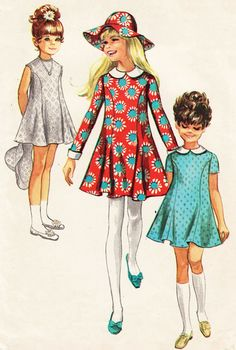 For several years, vintage fashion boasted artifacts from the mini-dresses and knee high boots. Then it was the vintage fashions of afro hair styles and bell bottom pants along with wedge heels and flowing disco tops. Vintage Outfits, Vintage Girls Dresses, Vintage Dress Patterns, Little Girl Dresses, Vintage Fashion, 1960s Dresses, Childrens Sewing Patterns, Kids Patterns, Moda Vintage