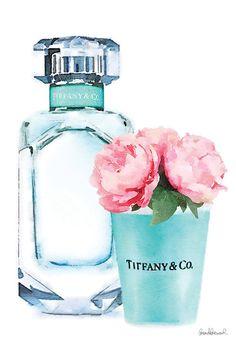 Teal Perfume Set II Canvas Wall Art by Amanda Greenwood Azul Tiffany, Tiffany Art, Tiffany And Co, Tiffany Blue, Chanel Art, Chanel Perfume, Black And White Aesthetic, Blue Aesthetic, Canvas Art Prints