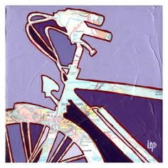 Bike New Orleans-  bicycle - cycle map painting featuring vintage map of Louisiana-archival print