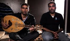 Syrian refugees Abu Abdullah (left) and Mohamad Isa Almaziodi (right)