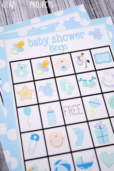 Baby Shower Bingo Game Cards. Adorable free printable by Crazy Little Projects.