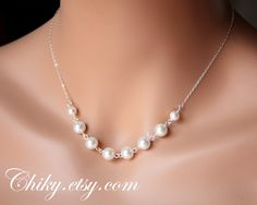 Romantic pearl necklace - STERLING SILVER - Bridal wedding jewelry bridesmaids gift
