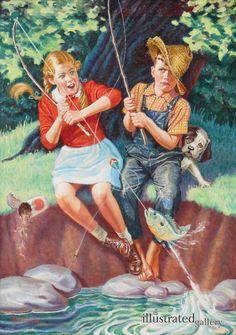 Revere F. Wistehuff – American)Young Girl And Boy Fishing Fishing Photography, Fishing Pictures, Fishing Girls, Women Fishing, Bo Bartlett, Trout Fishing, Fishing Kit, Going Fishing, Fishing Boats
