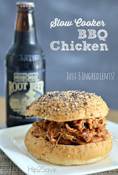 Looking for a simple slow cooker or Instant Pot recipe? Try our 3 ingredient slow cooker BBQ chicken recipe. You just put it in the slow cooker and go! Slow Cooker Huhn, Crock Pot Slow Cooker, Slow Cooker Chicken, Slow Cooker Recipes, Crockpot Recipes, Cooking Recipes, Chicken Recipes, Crock Pots, Meal Recipes