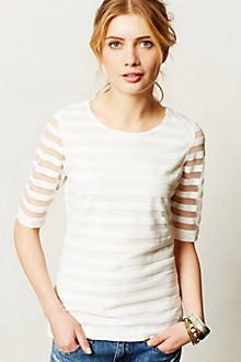 anthropologie tee with sheer white stripes.