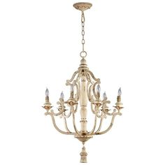 Maison French Country Antique White 6 Light Chandelier Wrought Iron & Wood