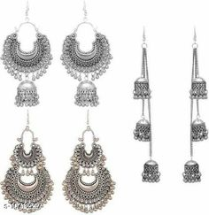 Checkout this latest Earrings & Studs Product Name: *New Earring Combo Set* Plating: Oxidised Silver Country of Origin: India Easy Returns Available In Case Of Any Issue   Catalog Rating: ★4.1 (1281)  Catalog Name: Shimmering Fancy Earrings CatalogID_1969632 C77-SC1091 Code: 061-10718597-723