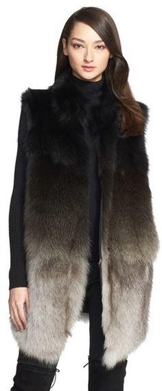 St. John Collection Ombré Genuine Fox Fur Vest