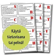 tietokilpailu lapsille School Supplies, Language, Bullet Journal, Classroom, Activities, Education, Cards, Ideas, School Stuff