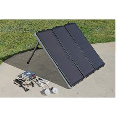 simply connect the solar panels to your own 12 volt DC storage battery, and then use at least a 300 watt power inverter (sold separately) to...