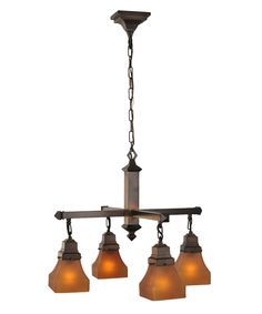 Meyda Lighting 50363 Bungalow Frosted Amber 26 Inch Chandelier | Capitol Lighting 1-800lighting.com