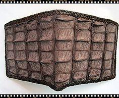 crocodile/aliigator  Skin Leather Brown Bifold wallet by Ossora