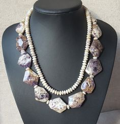 Unique Mixed Shape Amethyst Necklace by AbaloneStore on Etsy  www.facebook.com/AbaloneJewelryStore/  www.instagram.com/abalone.abalone/