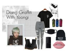 Casual // Bts // Graffiti by opalxx on Polyvore featuring polyvore, fashion, style, Topshop, Dr. Martens, Lime Crime, NARS Cosmetics and clothing