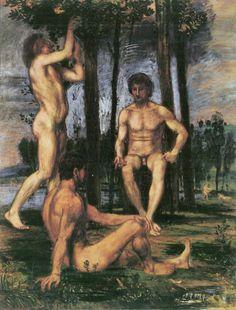 Drei Jünglinge unter Orangenbäumen, 1875-80, Hans von Marées. La-clef-des-cœurs