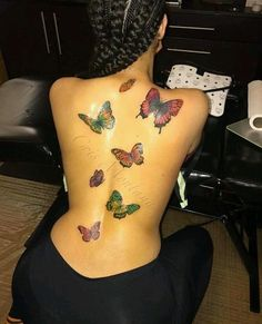 A wide variety of small tattoos for women small meaningful tattoos Cute Tattoos With Meaning, Dope Tattoos For Women, Black Girls With Tattoos, Back Tattoo Women, Tattoo Girls, Girl Back Tattoos, Red Ink Tattoos, Spine Tattoos, Badass Tattoos