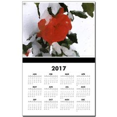 Red Rose In Snow Calendar  by Khoncepts