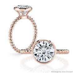 WOW. Love this unique, rose gold #engagement ring! {@jeandousset}