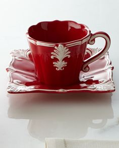 Four Square Baroque Cups & Saucers, Red/Ivory