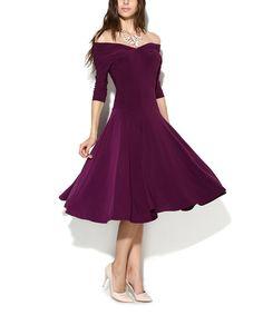 Look what I found on #zulily! Damson Off-Shoulder Fit & Flare Dress #zulilyfinds