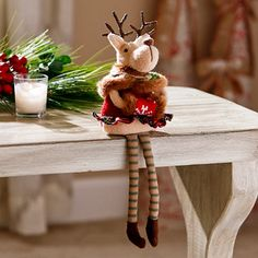 Reindeer Girl Shelf Sitter