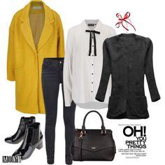 zlta kabat cierna sveter siva dzinsy bluzka bodkovana s maslou lakovane kotnikove cizmy