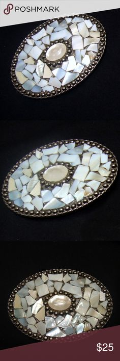 "Vintage southwestern belt buckle-mother of pearl Great southwestern belt buckle ; beautiful mother of pearl inlay , nice design . Unisex...men's or women's . Approx 3 1/4"" x 2 3/8"" . Fine condition , clean , metal nice. See my other vintage buckles , belts listed! 195 vintage Accessories Belts"