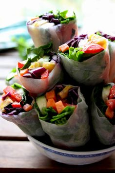 Easy Vegan Spring Rolls with Peanut Sauce: Satisfying and versatile snack loaded with veggies and dipped in delicious peanut sauce with ginger and garlic. Gluten-free, raw, low carb!