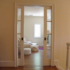 pocket double doors into pantry?, glass door from mudroom/kitchen