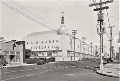 "RKO Radio Pictures, located where Melrose Avenue meets Gower Street in Hollywood (ca. 1937). ""RKO"" stands for the theatrical merger of Radio Keith Orpheum."
