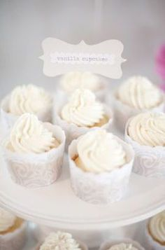 Pure White DIY Party With A Hint Of Pink Balloons Doilies 038 Hearts Loverly dessert cupcake lace pastel modern andres … Lace Cupcakes, White Cupcakes, Fun Cupcakes, Wedding Cupcakes, Vanilla Cupcakes, Dessert Wedding, White Bridal Shower, White Shower, White Desserts