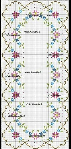 This Pin was discovered by Sev Cross Stitch Borders, Cross Stitch Alphabet, Cross Stitch Flowers, Counted Cross Stitch Patterns, Cross Stitch Charts, Cross Stitching, Cross Stitch Embroidery, Pixel Crochet, Palestinian Embroidery