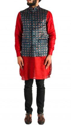 Red Kurta with Black Churidar and Printed Nehru Jacket. Shop now at special online prices. Nehru Jacket For Men, Nehru Jackets, Wedding Store, Wedding Wear, Red Kurta, Churidar, Men's Collection, Shop Now, Menswear