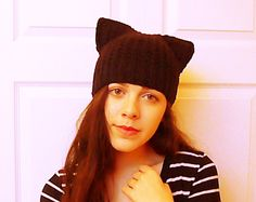Hey, I found this really awesome Etsy listing at https://www.etsy.com/listing/215336119/black-cat-hat-kitty-ear-beanie-ear-hat
