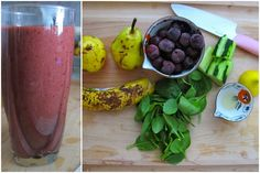 2 pears,1 ripe banana, 1 cup frozen sweet cherries, Handful spinach, ½ peeled cucumber, Juice of ½ lemon, 1 cup water
