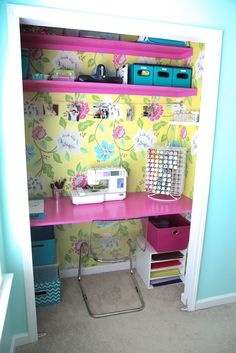 Fried Pink Tomato- closet converted to a desk space, sewing room, craft room, office decor - Home decor and design Small Sewing Space, Sewing Spaces, Sewing Room Organization, Craft Room Storage, Craft Rooms, Organizing Ideas, Paper Storage, Closet Office, Room Closet