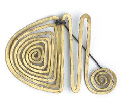 alexander calder gold and brass jewelry – brooches