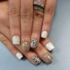 Instagram photo by thenailboss #nail #nails #nailart gold white nails
