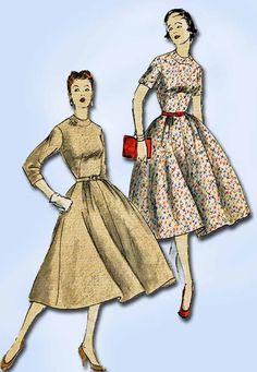 1950s Vintage Vogue Sewing Pattern 3444 Misses Dress w Full Skirt Size 11 30.5B