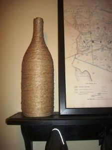 hemp wrapped wine bottle #craft This would look cool in colored hemp , used as a vase