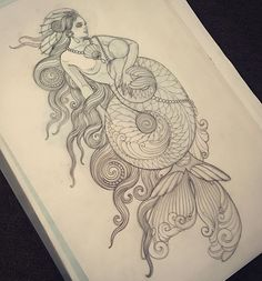 Mermaid tattoo design by Emily Rose Murray- # by . - Mermaid tattoo design by Emily Rose Murray # by - Mermaid Tattoo Designs, Mermaid Drawings, Mermaid Art, Love Drawings, Baby Mermaid, Wolf Tattoos, Nature Tattoos, Finger Tattoos, Body Art Tattoos