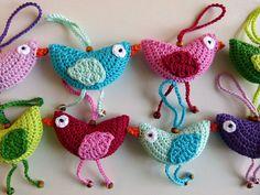 Custom made crocheted spring bird decoration by WoollyMary on Etsy, €6.00