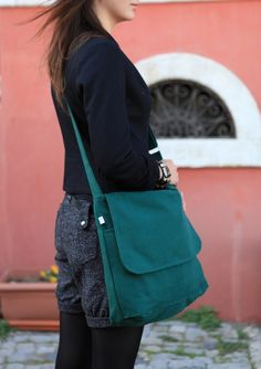 Canvas Bags – Modular Messenger II in Emerald Green – a unique product by…