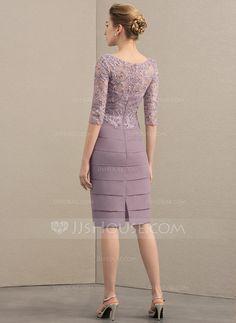 0f42389c0 Tubo Decote redondo Coquetel Tecido de seda Renda Vestido para a mãe da  noiva com Beading