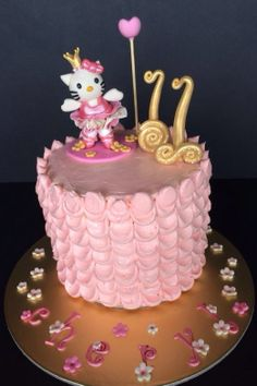 #Hello Kitty cake. Six layer six color vanilla cake covered with Lemon Flavoured Swiss Meringue Buttercream with Hello Kitty Ballerina and Blossoms