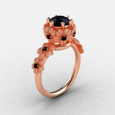 14K Rose Gold Black Diamond Flower Wedding Ring by NaturesNouveau, $1149.00