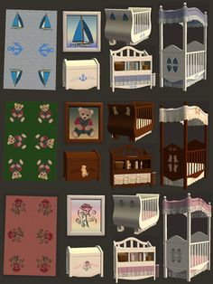 "Mod The Sims - 3 bedrooms collections (recolors): ""Bearcub"", ""Rose"" & ""Marin"""