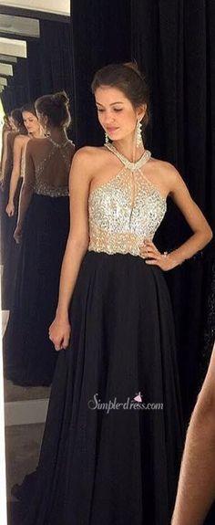 2016 long prom dress, black prom dress, backless prom dress, chiffon prom dress