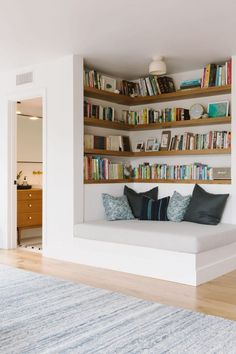 house interior: Samantha Gluck Emily Henderson Playroom Reading Co. house interior: Samantha Gluck Emily Henderson Playroom Reading Co. Minimal House Design, Minimal Home, Small House Interior Design, Home Library Design, Library In Home, Dream House Interior, Simple Home Design, Home Design Images, Small Space Design
