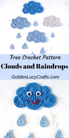 Crochet clouds and raindrops applique, free crochet pattern. Will look great on pillows and blankets, you can use them to embellish children's clothes, or glue them on canvas and create beautiful wall decor for a nursery or kids' room. Crochet Snail, Thread Crochet, Cute Crochet, Easy Crochet, Crochet Flowers, Crochet Toys, Crochet Baby, Knit Crochet, Crochet Clothes